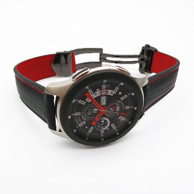 Bracelet de montre AKGLEADER 20/22mm pour montre galaxie 46mm bracelet de montre en cuir Style Fiber de carbone pour Samsung Gear S3 Huawei GT sangles