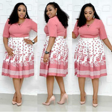 2019 new arrival sexy fashion style african women printing plus size polyester dress L-3XL
