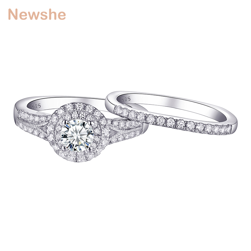 Newshe 1Ct Round Cut AAA CZ Solid 925 Sterling Silver Wedding Ring Sets Engagement Band Classic Jewelry For Women 1R0026Newshe 1Ct Round Cut AAA CZ Solid 925 Sterling Silver Wedding Ring Sets Engagement Band Classic Jewelry For Women 1R0026