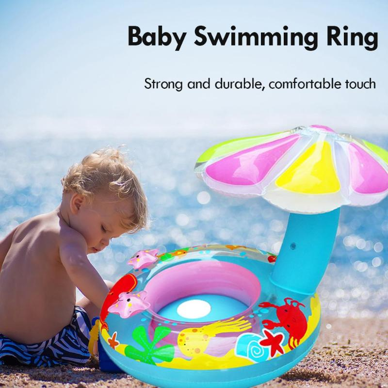 Rooxin Inflatable Baby Swimming Ring Boat Mushroom Swimming Circle Pool Float Ring Baby Seat Swim Training Beach Party Toys