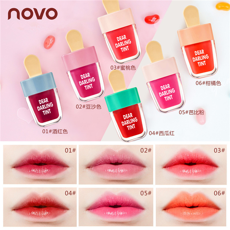 NOVO Cute Ice Cream Lip Tint Makeup Korean Style Red Liquid Matte Lipstick Pigment Nude Lasting Moisturizer Lipgloss Cosmetics(China)
