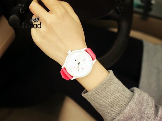 Hesiod Casual Simple Silicone Watch Quartz Watch Lovers Wristwatch Black White Rose Color Watch Women Relogio Feminino