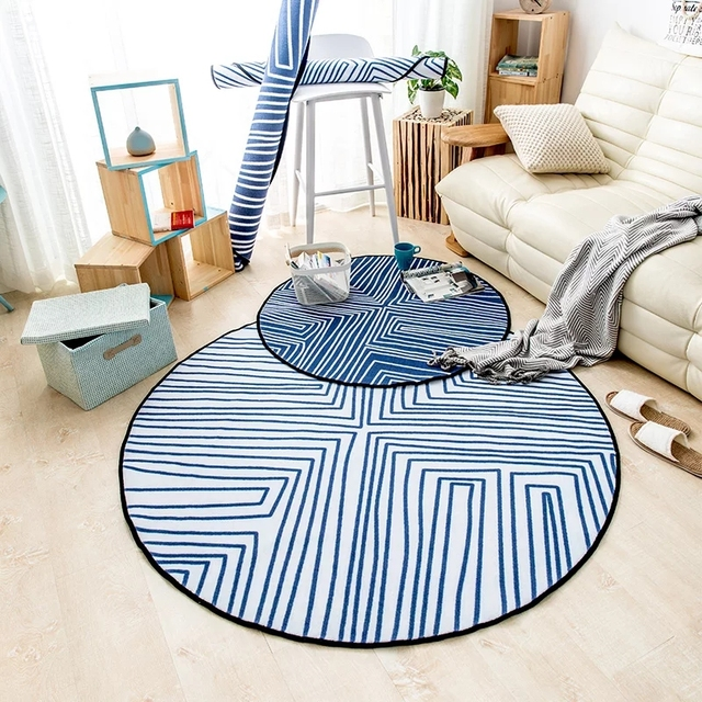 Nordic Sea Blue Striped Round Shaped Carpet 100cm Living Room Mat Bedside And White Mixed Decoration Door