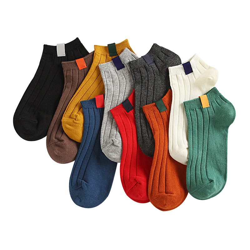 5pairs Women's Sock Colorful Funny Art Cute Short Socks Warm High Quality Autumn Winter Cotton Solid Color Female Socks Hosiery