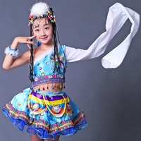 The new children's performance clothing Children dance costume ethnic Tibetan clothing robe sleeves girls