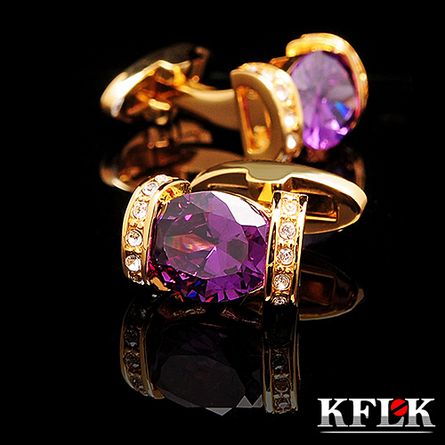 KFLK luxury 2018 shirt cufflink for women Brand cuff button Purple Crystal cuff link High Quality Gold abotoadura Jewelry