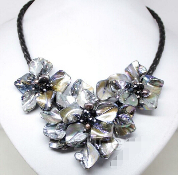 "Handmade flowers shell necklace mother of pearl crystal pendants black 18"" AAA style Fine Noble real Natural free shipping"
