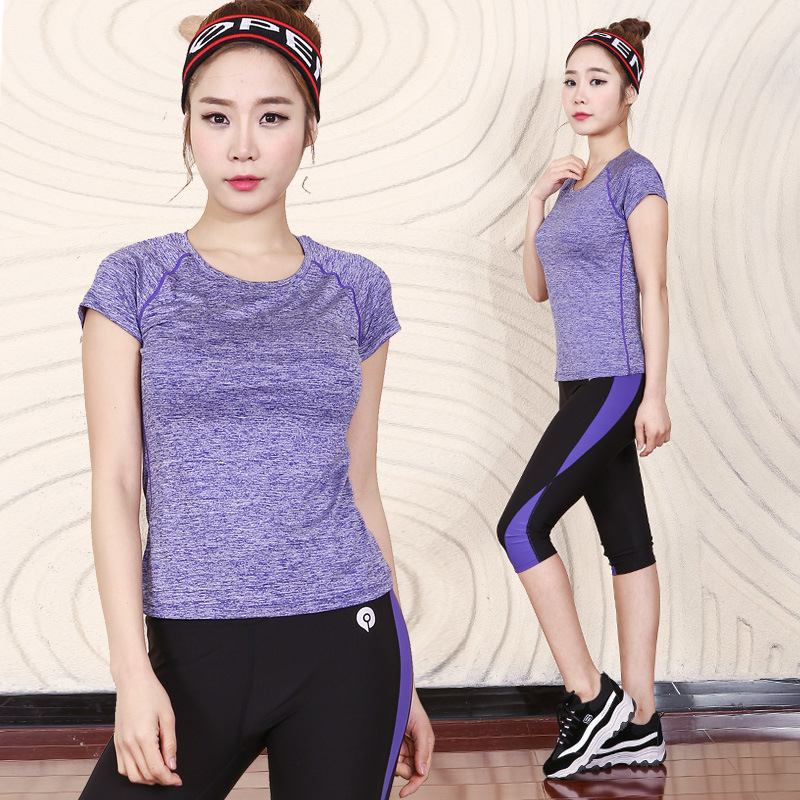 Edition show thin tight stitching yoga suit 7 minutes of pants quick-drying running workout clothes women movement