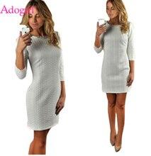 Adogirl Braid Stripe Women Bodycon Dress Fashion Casual O Neck 3/4 Sleeve Sheath Mini Autumn Winter Warm Clothes