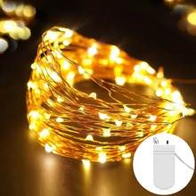 Сказочная светодиодная медная гирлянда 2 м 5 м с батарейным питанием для свадьбы, Рождественская гирлянда, праздничная лампа для украшения дома