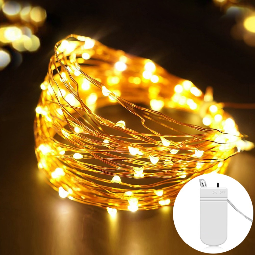 Fairy 2M 5M Battery Operated LED Copper Wire String Lights For Wedding Christmas Garland Festival Party Home Decoration lamp(China)