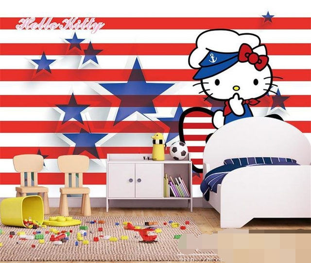 3d room photo wallpaper custom mural non-woven wall sticker Hello Kitty flag of USA painting photo wallpaper for walls 3d