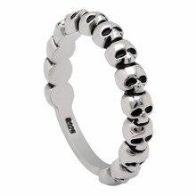 Vintage CZ Evil Skull Ring Jewelry Silver Color Punk Pave Skeleton Design Round Bands Finger For Men Women Retro Party Gift