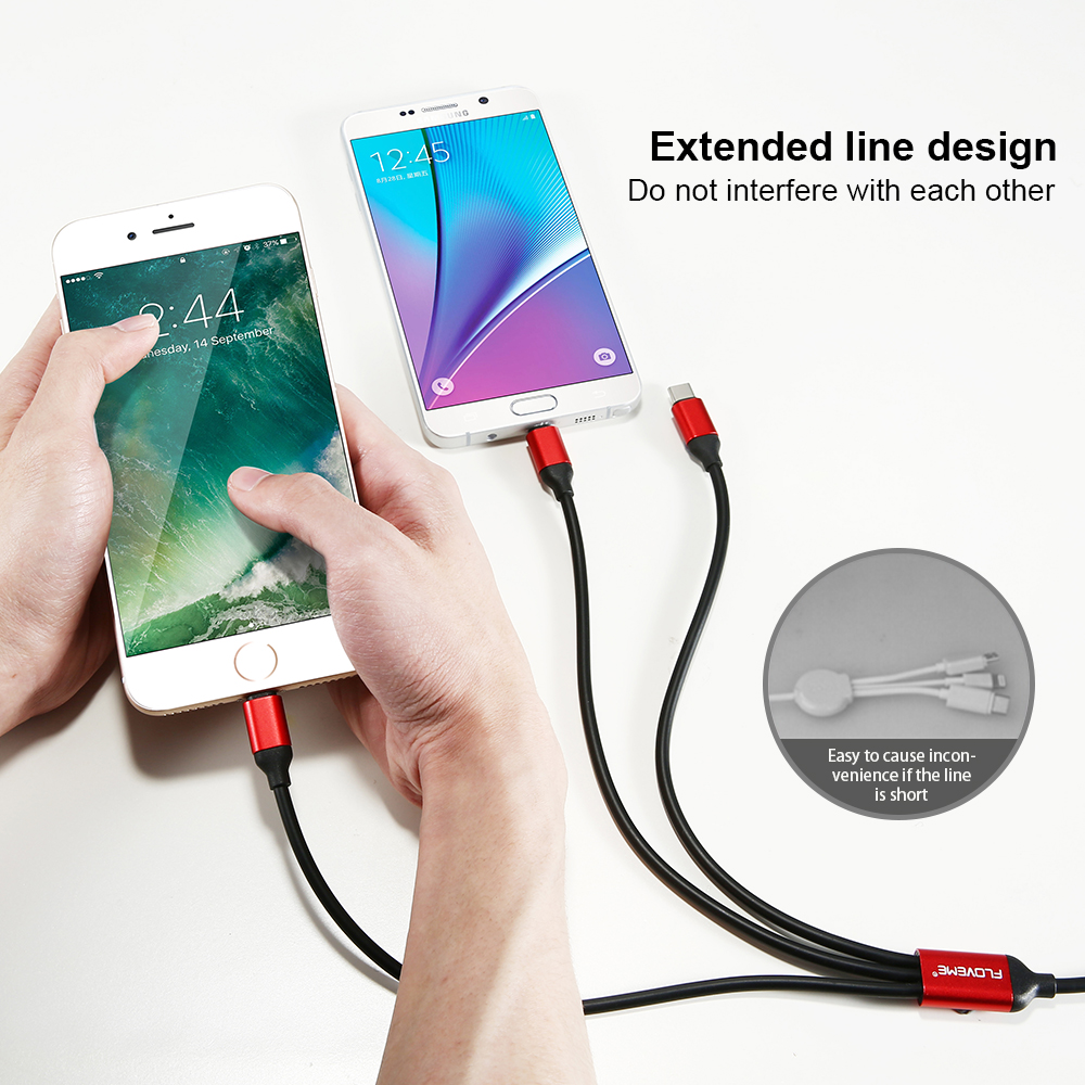 Fashion FLOVEME New Charger Cable For iPhone 6 Android Type C A Drag Three Phone Lines Multi-function Triple Rubber Data Cable