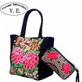 Старинные Вышивки женщин Пион Цветок Вышитые Tote сумки для Путешествий, Сумки Небольшой Сцепления Кошелек Телефон Бумажник Монет Bag Composite Bag