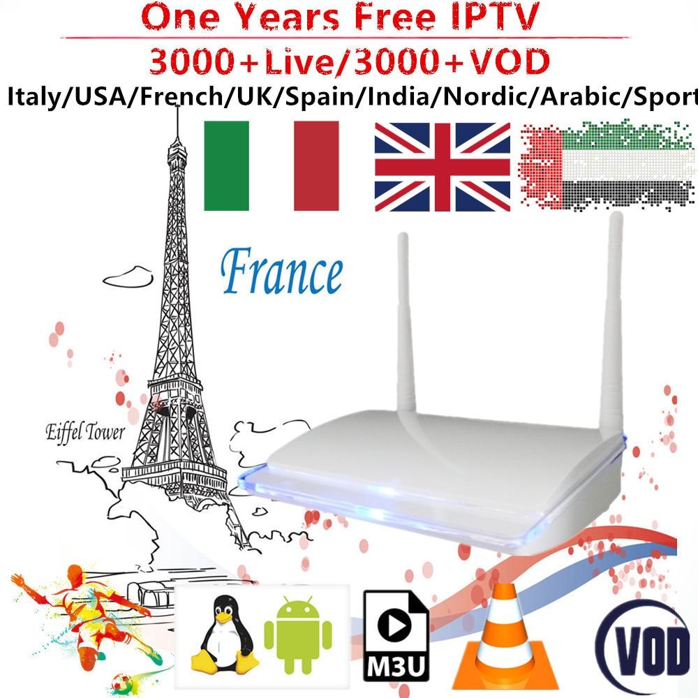 French IPTV Box 1 Year Subscription Arabic Brazil Nordic Spain Italy India Germany Nordic Brazil 3000+ Channels Mediaset Premium