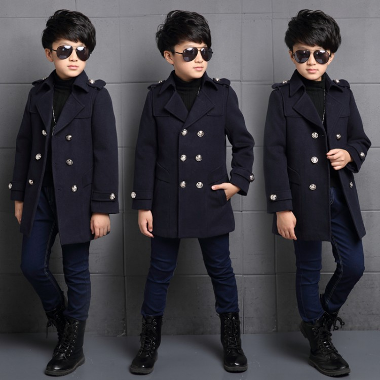 Children's wear autumn and winter new fashion woolen coat children's long wool double-breasted jacket boy windbreaker WUA810234 недорго, оригинальная цена