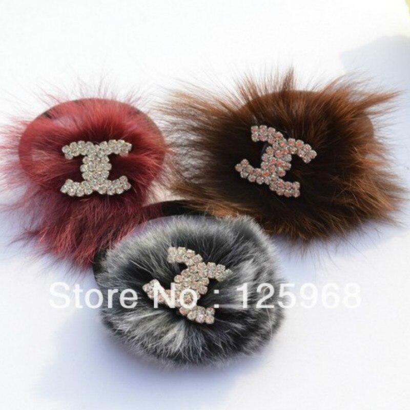Gratis Pengiriman, 2018 New Womens Fur + Berlian Imitasi Tali Rambut - Aksesori pakaian - Foto 1