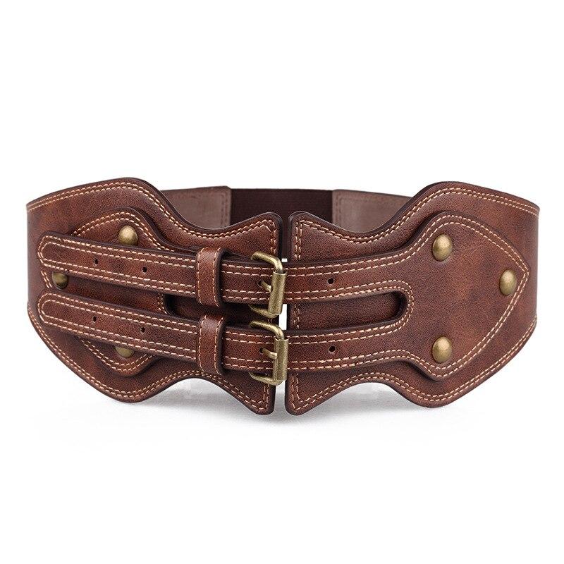 2018 New woman belt brown wide belt Crazy horse skin double needle buckle girdle women's elastic ceinture waistband Dress suit
