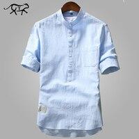 Новое поступление, мужские рубашки, модные летние рубашки с коротким рукавом для мужчин, хлопок, воротник-стойка, рубашки для мужчин, роскош...