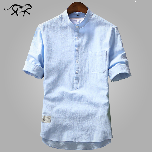 5c42a579 New Arrival Men's Shirts Fashion Summer Half Sleeve Shirts For Men Cotton  Stand Collar Shirts Men