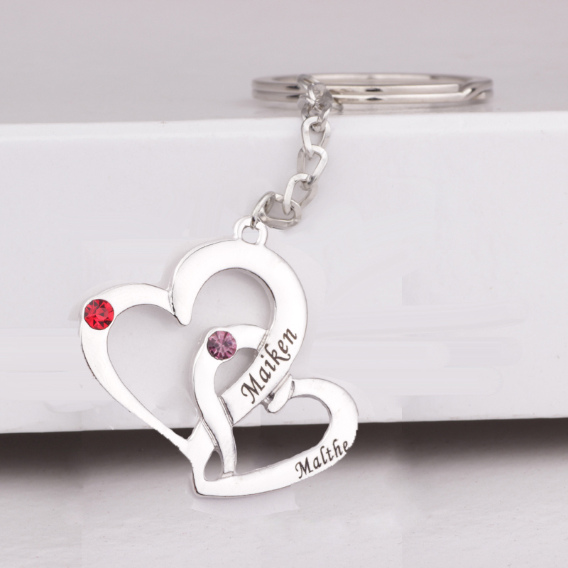 High Quality Hearts Birthstones Keychain Key Ring Couple Jewelry Anniversary Gift White Gold Plating Drop Shipping YP3060
