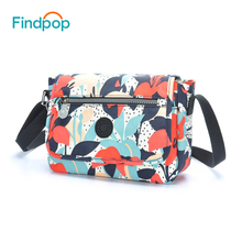 Findpop Floral Women Crossbody Bags New Arrival Canvas Waterproof Small Messenger Bags Ladies Casual Mini Crossbody Shoulder Bag