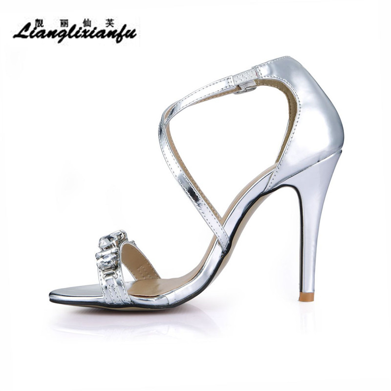 Diamants Sangle Pompes Sandales Sandalias Croix Llxf Or Mujer Chaussures Été Cm Boucle Mince argent Femme Stiletto Sexy Talons 10 PO07P