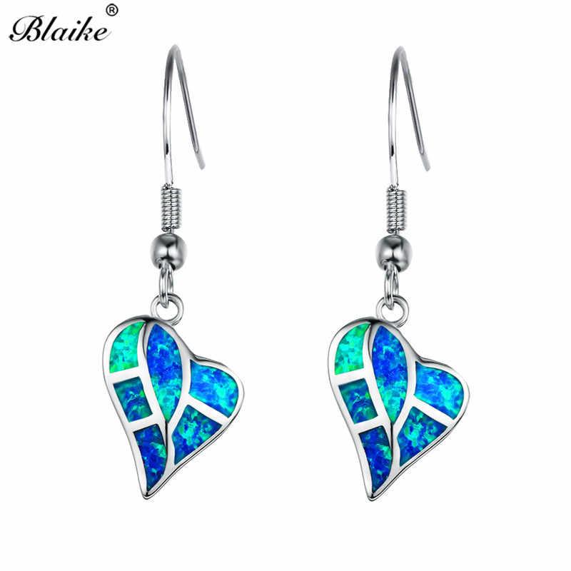 Blaike Ocean Blue White Fire Opal Drop Earrings For Women 925 Sterling  Silver Rainbow Heart 233fb88084ba
