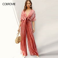 COLROVIE Rust Plunging Neck Knot Front Tie Dye Palazzo Jumpsuit Women 2019 Spring Summer Boho Deep V Neck Sexy Wide Leg Jumpsuit