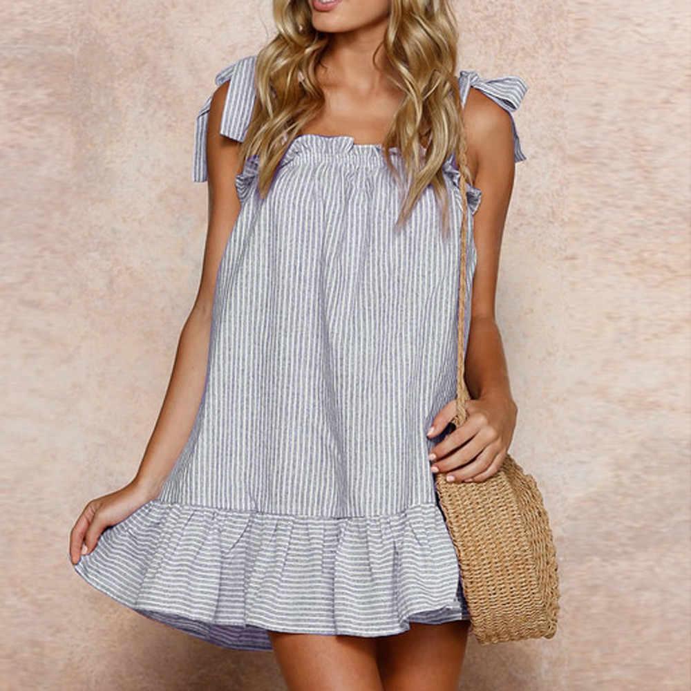 143b9e37648b Summer Sexy Dresses Print Striped Beach Linen Sling Sleeveless Mini Dress  Women Sundress Beach Dress vestir