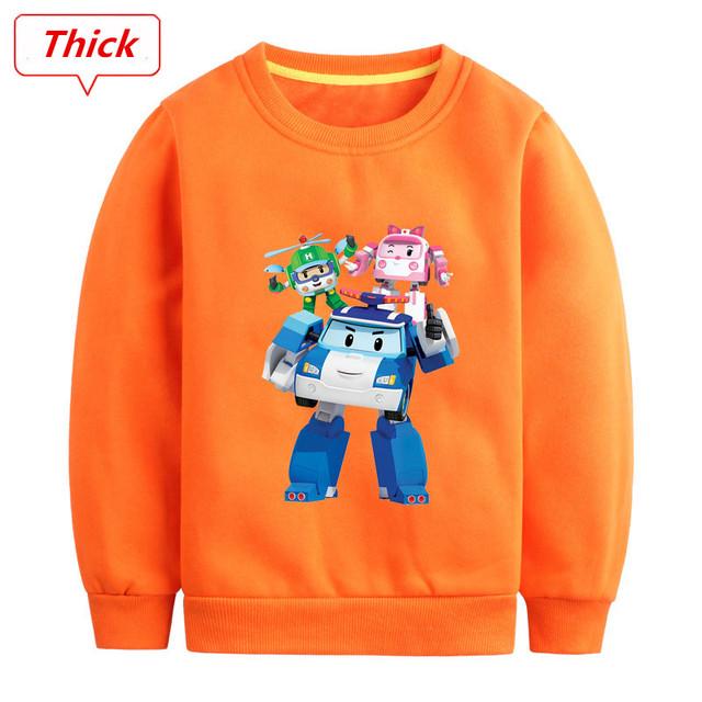 Moda Infantil Hoodies Camisas de T para Meninos Robocar poli Quente Além de Veludo Com Capuz Crianças Dos Desenhos Animados Camisola Meninas Roupas Casuais