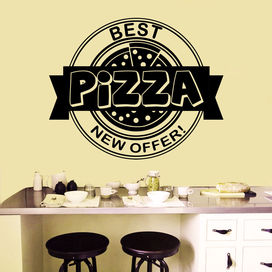 Free Shipping Pizza Restaurant Vinyl Wall Decal Italian Pizza ...