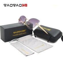 купить TAOTAOQI Brand Cat Eye Sunglasses Women Designer Personality Rimless Vintage Men Sun Glasses Female Eyewear UV400 Oculos недорого