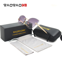 TAOTAOQI Brand Cat Eye Sunglasses Women Designer Personality Rimless Vintage Men Sun Glasses Female Eyewear UV400 Oculos