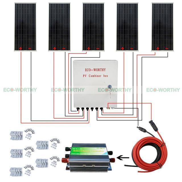 6pcs 100w 12v solar panel 6 string pv combiner box 45a controller 12V RV Water Pump