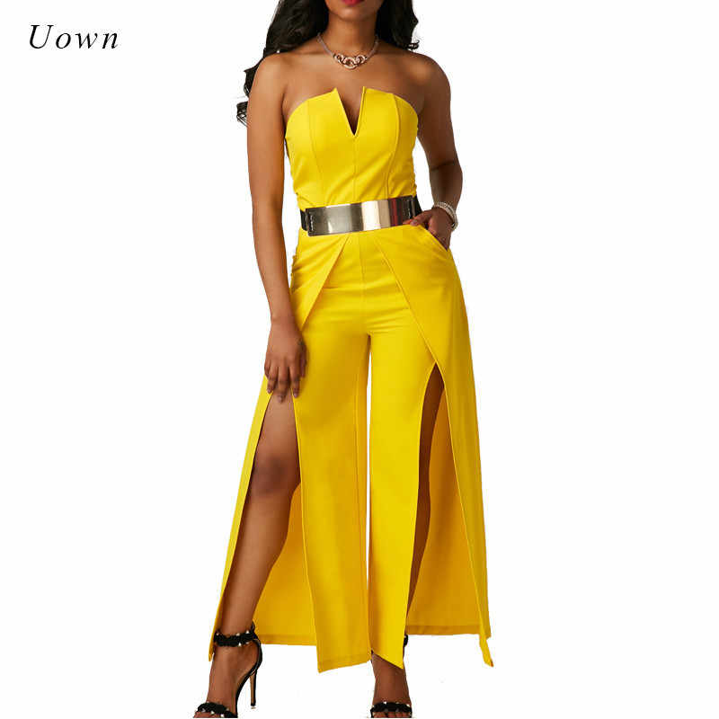 05e948f70e7e Elegant Evening Strapless Jumpsuit One Piece Long Pants Romper Thigh High  Split Special Occasion Yellow White