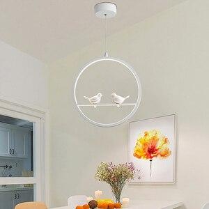 Image 3 - לבן/שחור תליון אורות מקורה מרפסת לופט בית תליית תאורה מודרני מטבח סלון אמנות ציפורים LED תליון מנורות