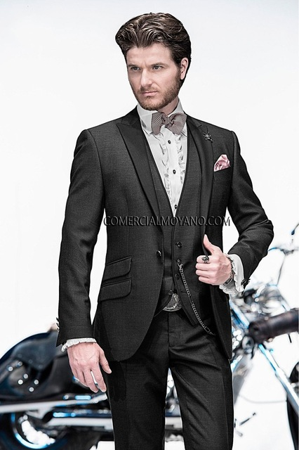 Custom Made New Arrival Groom Tuxedo Ticket Pocket Groomsmen Peak Lapel WeddingSuits Best Man Bridegroom (Jacket+Pants+Vest)