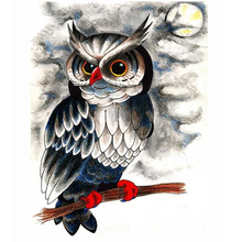 WEEN Owl and moon-DIY Framed Oil Painting By Numbers kit, Wall Art Pictures, Canvas Paint For Living Room 40x50cm