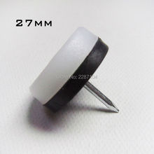 12pcs Heavy Duty DOUBLE PAD White Nylon Furniture Chair Table Cabinet Leg Feet Bottom Protector Glides Slide Nail on 20mm 27mm