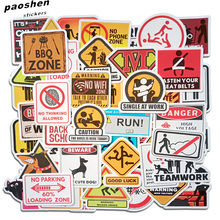 50 шт. ПВХ Предупреждение наклейки относится к жилой граффити машины Мотоцикл Велосипед скейт Чемодан забавные стикеры DIY Водонепроницаемый