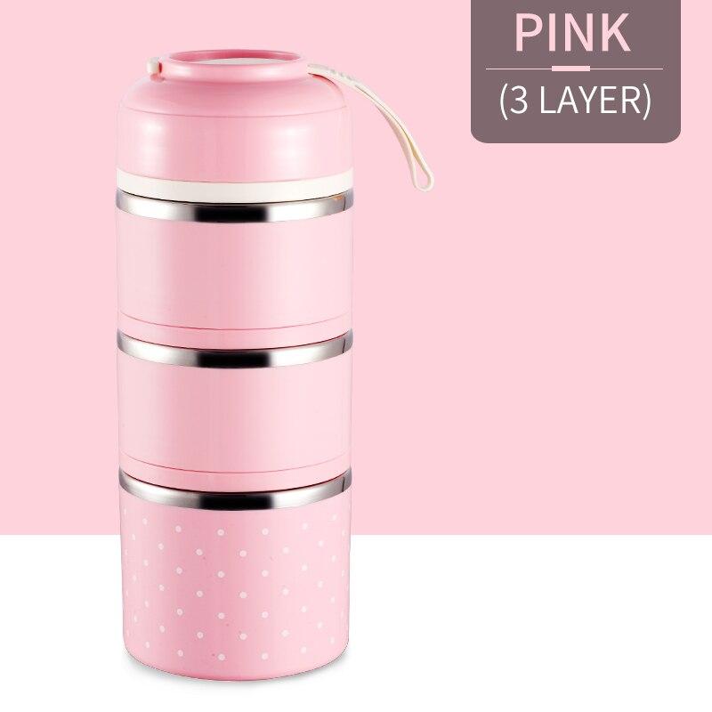 Милые детские Термальность Коробки для обедов герметичность Нержавеющая сталь Bento box для детей Портативный Пикник школа Еда контейнер Box - Цвет: Pink 3 Layer