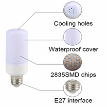 Dynamic Flame Effect Bulb E12 E14 E24 E27 B22 85-265V 3 Modes LED Diode Flickering Emulation Flame Lamp Novelty Night Lights