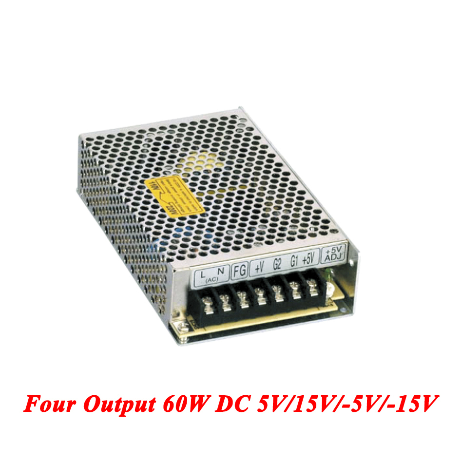 Q-60C Quad Output Switching Power Supply 60W 5V 15V -5V -15V,ac-dc smps for led driver,AC 110V/220V Transformer To DC 60w quad output 5v 15v 5 15v switching power supply ac to dc