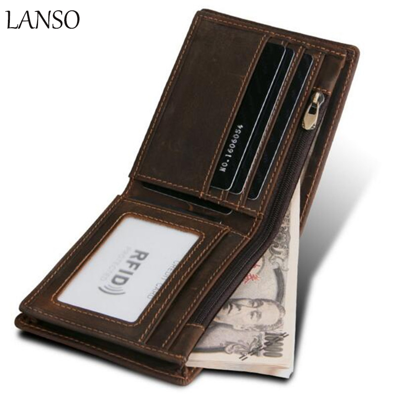 LANSO Short Wallet Genuine Leather Men Purse Card Holder Slim Fashion Hasp Design Male Money Wallets With Card Bits Clutch male brief short design wallets credit card holder men purse