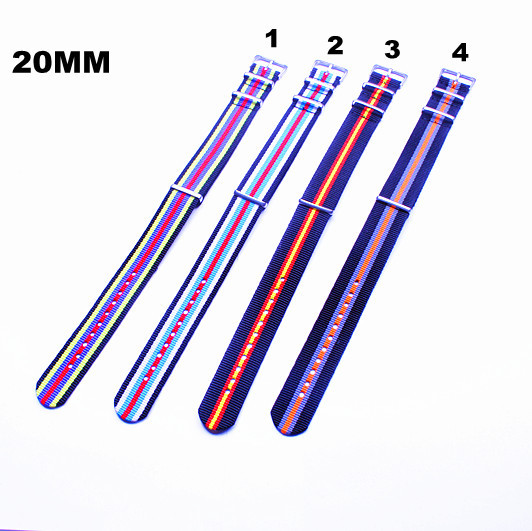 Купить с кэшбэком New arrived - 10PCS/lots High quality 20MM NATO straps waterproof nylon watch strap 4 color available  - 72304