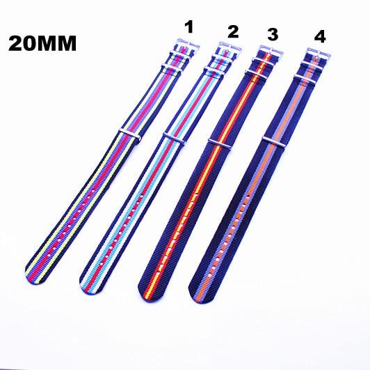 Neu angekommen - 10 STÜCKE / Lose Hochwertige 20-mm-NATO-Armbänder, wasserdichtes Nylonarmband, 4 Farben erhältlich - 72304