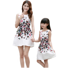 2016 Summer Mother Daughter Dresses Kids Girls Family Look Clothing Teenage Girls Butterfly Printed Dresses Mae e Filha Vestido