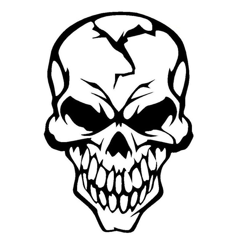 8 1 12cm Skull Cracked Human Head Car Stickers Decals